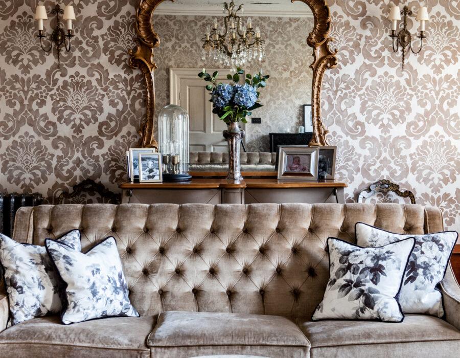 mirror, sofa, hand-painted walls
