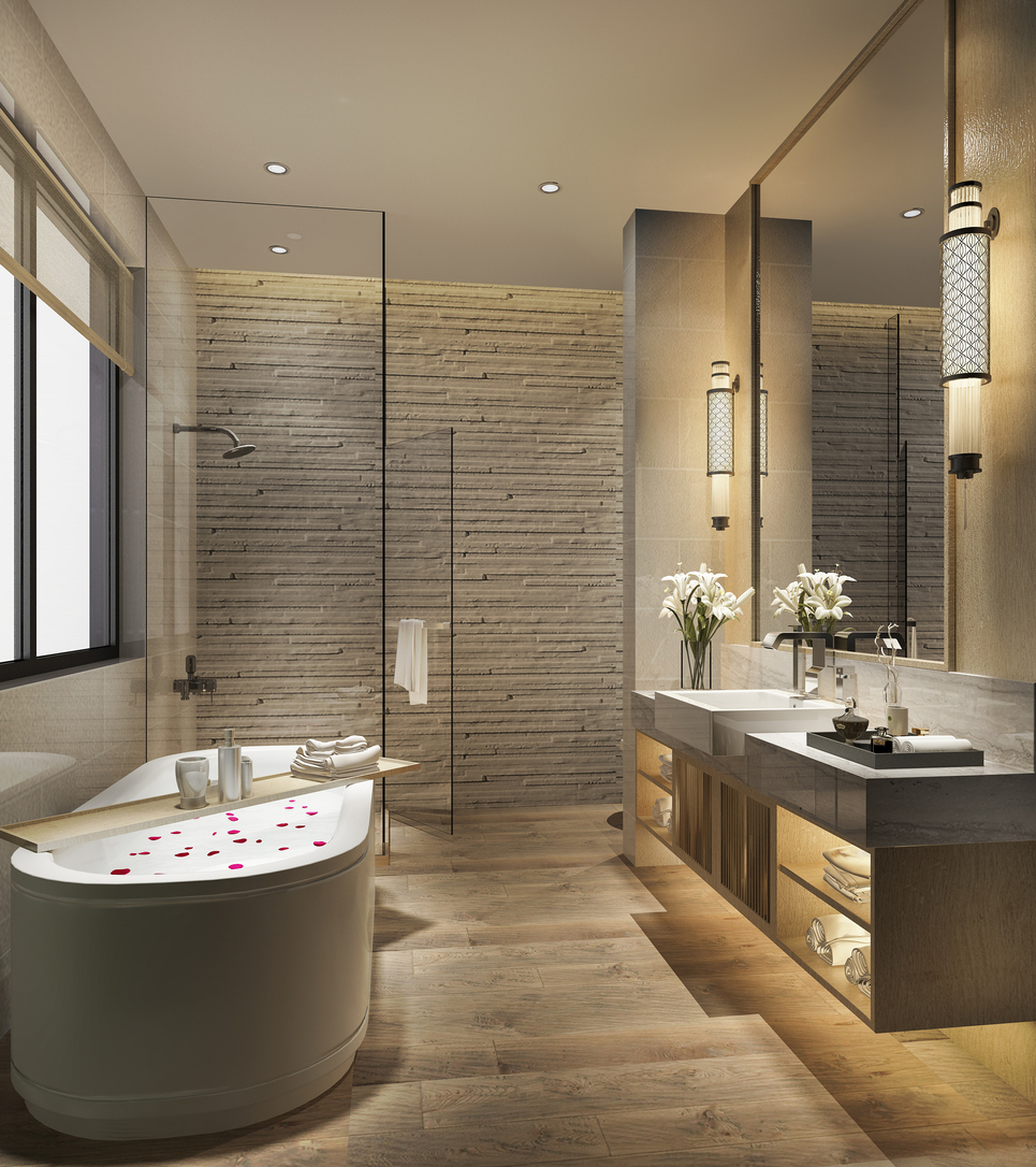 bathroom designer created this modern space