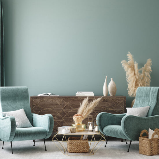 A living room with multiple surface textures in a blue setting.